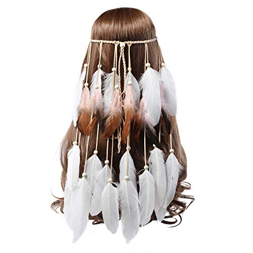 AWAYTR Bohemien Festival Stirnband Feder Kopfschmuck - Weiß Hippie Feder Kopfstück Indischer Kopfschmuck Boho Stirnband für Damen Mädchen Haarschmuck (Weiß + - La La Velvet Kostüm