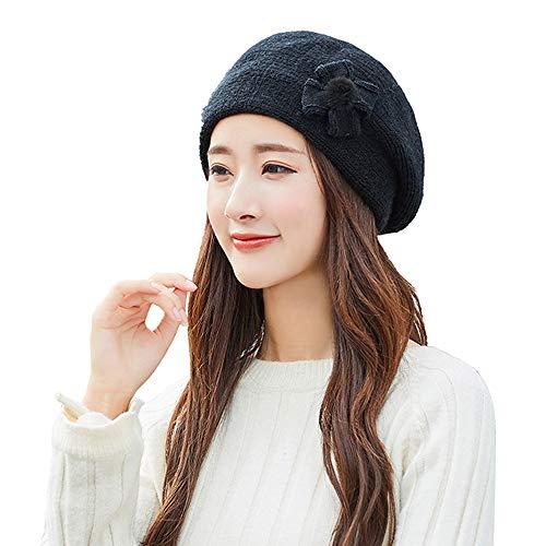 XMoments Frauen winter warm bow cap baskenmütze geflochtene baggy knit crochet beanie mütze ski cloche bucket hut warme weiche 1920s vintage glockenhut (Damen Fleece Cloche Hut)