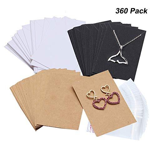 lskette Ohrring Display Karten mit 360 Stück selbstschließende Taschen für Ohrstecker Ohrringe Ohrhänger Ohrhänger Ohrringe Halskette Kette 3 Farben Braun Weiß Schwarz ()