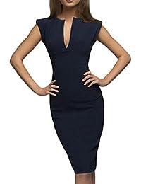 067aef53ff50 Longra Damen Elegant Bleistiftkleid V-Ausschnitt Etuikleid Ärmellos  Knielang Sommerkleid Retro Abendkleid Business Kleid Bodycon…