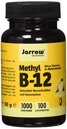 Methyl B12 1000 µg, aktives Vitamin B12 als Methylcobalamin,rosafarbene Lutschtabletten mit Zitronengeschmack, vegan, , Etikett in Deutsch, Englisch und Französisch, Jarrow, 1er Pack (1 x 100 Stück)