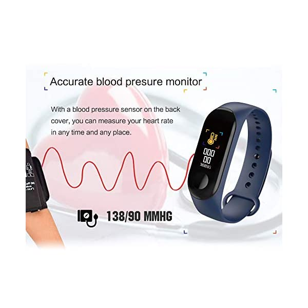 Konesky Fitness Tracker Monitor de Ritmo cardíaco Pulsera de presión Arterial Actividad Reloj Podómetro Contador de calorías Pulsera para Android iOS Smartphone 3