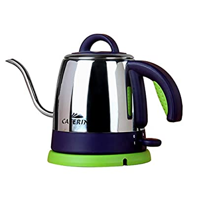 JF Bouilloire électrique 0.8L col de Cygne en Acier Inoxydable Pot de café 1000W Chauffage Rapide/arrêt Automatique Bouillir Protection sèche sans BPA sans Fil LED indicateur