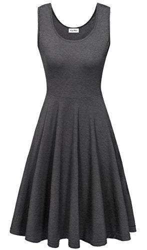 KorMei Damen Ärmelloses Beiläufiges Strandkleid Sommerkleid Tank Kleid Ausgestelltes Trägerkleid Knielang Dunkel Grau M (Design Kleid)