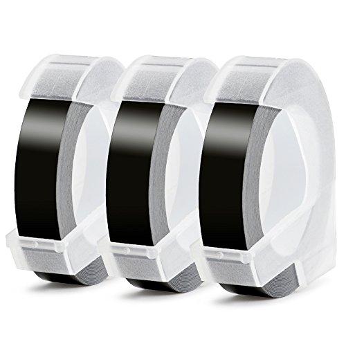 Ersatz Dymo Prägeband,3D Langlebige Kunststoff Prägebändern Kompatibel DYMO Klebendes Vinyl-Prägeetiketten für Dymo Omega Junior Etikettenprägegerät (9 mm x 3 m, Weiß auf Schwarz, 3 Rollen)