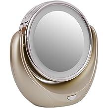 Veesee Creativo Specchio Cosmetic Illuminato con Luci LED Raddoppiare Modalità Ingrandimento 1X/5X 360° Girevole Trucco Specchio, Portatile Batteria Caricata per Donne Ragazze Regalo