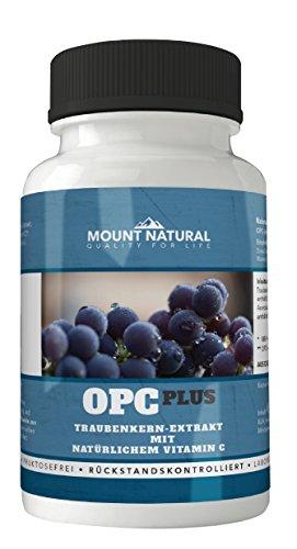 Mount Natural OPC Traubenkernextrakt + Acerola Vitamin C. 120 Kapseln Hochdosiert. Deutsche Weintrauben Ohne Zusatzstoffe Laborgeprüft Aus Deutschland