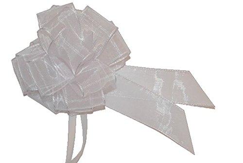 floristikvergleich.de 10 Stück – Schleifen weiß für Hochzeit, Schultüten und Geschenke – ca. 12 cm Durchmesser Hochzeitsschleife