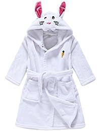 JZLPIN Unisexo Bebé Chicos Chicas Franela Bata de Baño para Niños Encapuchado Pijama Dressing Gown