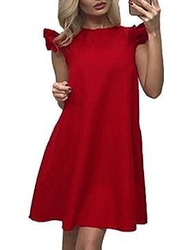Verano de Vacaciones Partido Coctel Fiesta Mujer de Playa Colores Lisos Plisada Vestidos Casual Floja Cuello Redondo...
