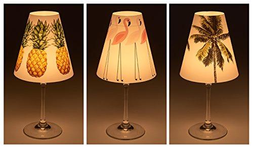 """Candle Lights / Lampenschirme für Weingläser / Deko-Lampenschirme / Lampe / Teelicht / Lampshades / Lampenschirm-Set """"Jarla"""" Tischdeko, 3-teilig (Ananas-palme)"""