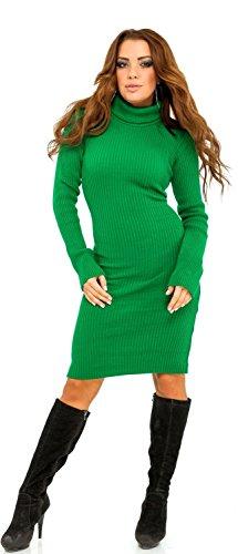Glamour Empire. Femme Robe moulante en maille côtelée. Robe pull à col roulé 417 Vert