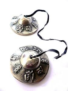 Cymbales tibétaines OM MANI PADME HUM 6 cm - Tingsha