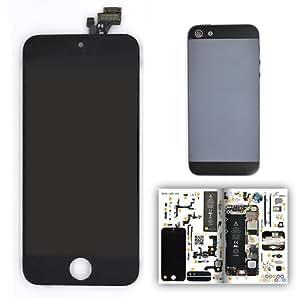 Kit vitre avant NOIRE premium qualité supérieure et coque ARDOISE pour iPhone 5 avec patron papier d'aide au montage offert