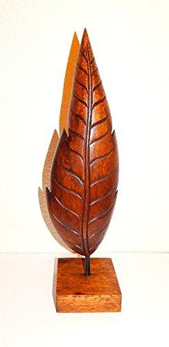 Holzskulptur Holz Gebilde Blatt 41 cm Skulptur aus Akazienholz dunkel -
