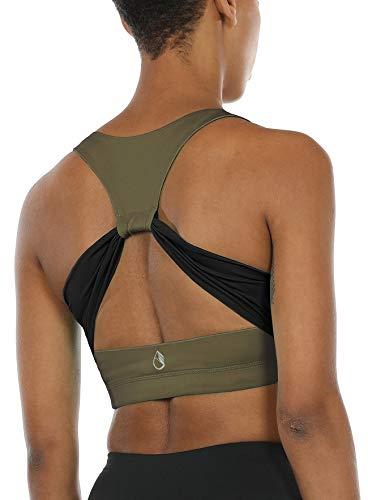 Grüne Damen-bhs (icyzone Damen Sport-BH mit Gepolstert Yoga BH Starker Halt Bustier Stretch Sports Bra Fuer Fitness-Training (Army, M))