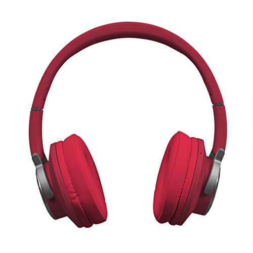 MEDION E62113 Bluetooth Kopfhörer, Bluetooth 4.0, NFC, Qualcomm aptX Audio, Freisprechfunktion, UKW Radio, X-Bass Funktion, rot