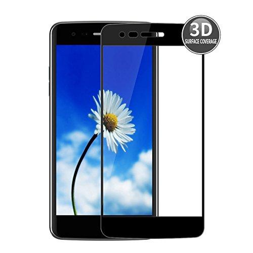 LG K8 2017 (Nero) Pellicola Protettiva 3D Curvata E-Hamii Protettore Copertura Completa Protezione dello in Vetro Temperato 9H Anti-graffio Protettivo HD Schermo Intero