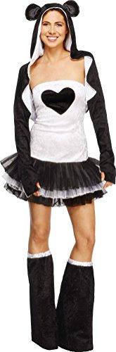 Fever, Damen Panda Kostüm, Tutu-Kleid mit abnehmbaren Trägern, Jacke mit Tierkapuze und Überstiefel, Größe: S, 22797