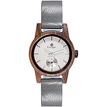Premium en bois horloge Tense Womens Leather Hampton (fabriqué en Canada)–Bois de Noyer–Cadran Blanc–Femme Montre m4701W de W