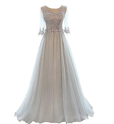 CoutureBridal® Robe Longue de Cocktail Bal Soirée Demoiselle d'honneur Applique Dentelle Tulle Gris EU38
