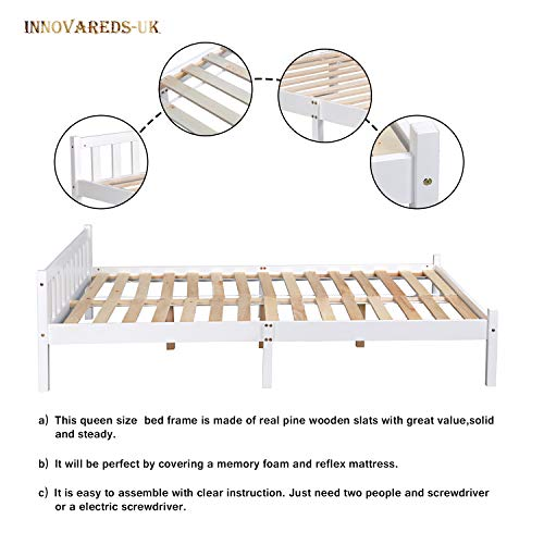 Natural Sturdy Pine Solid Wooden 4ft6 Double Queen Size Bed Frame White