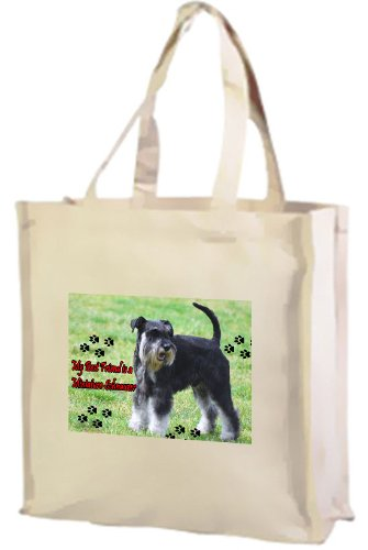 Miniature Schnauzer Dog Cotton Shopping Bag, Cream by Art2Wear (Dog Miniature Schnauzer)