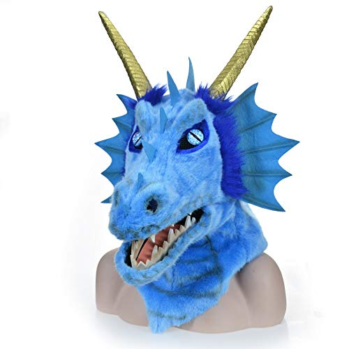Dragon Kostüm Blue - XIANCHUAN Tradition Design Moving Mouth Head Bunte Beast Fur Party Maske Mund Aktivität Atmungsaktive Halloween Creepy Hairy Gesichtsmaske Lustige Kostüm (Blue Dragon) (Color : Blue, Size : 25 * 25)