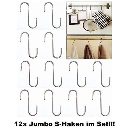 Tt-halter (TT 12x S-Haken Stahl Jumbo Küchenhaken Universalhaken Küchen Halter Haken Silber)