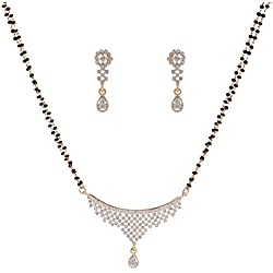 Sempre of London Thread CZ Crystal Diamonds with Gold & Rhodium Plated Mangalsutra with Earrings For Women