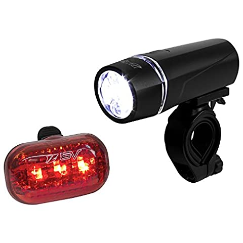 Bike lights BV Bicycle Light Set, Super Bright Cycling Front and Rear lights, 5 LED Headlight, 3 LED Taillight, 3 Light Modes, Quick-Release