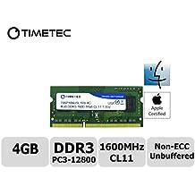 Timetec® Apple (78ap16nusl1r8–4G) di memoria RAM 4GB, 1600MHz DDR3(PC3–12800) non-ECC unbuffered, CL11, 1R, X8, 1.35V, (Samsung Buffered Memoria)