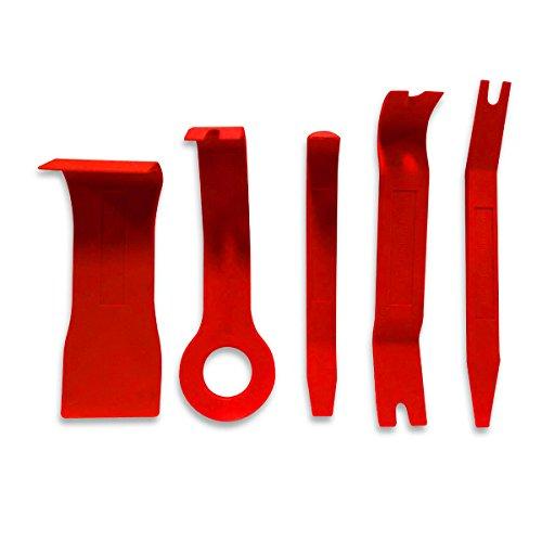 Preisvergleich Produktbild Qbace Set zur Entfernung von Felgen, mit Brechstangenset, Befestigungs- und Entfernungswerkzeug, Nylon, Rot, 5 Stück
