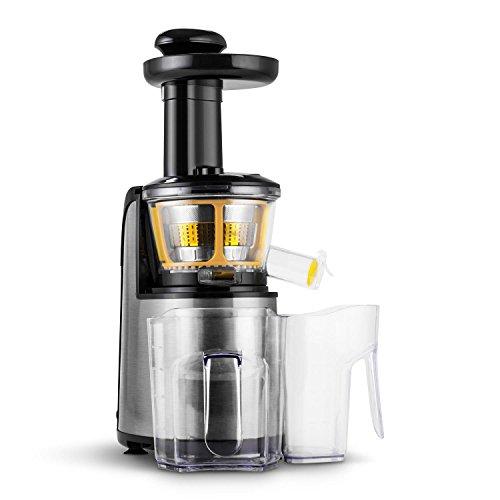 Klarstein Fruitpresso Nero II Slow Juicer • Entsafter • Fruchtsaftpresse • Edelstahl • 150 Watt • 80 U/min • Vor- und Rückwärtslauf • 2 x 800 ml Auffangbehälter • Sicherheitsverschluss • schwarz