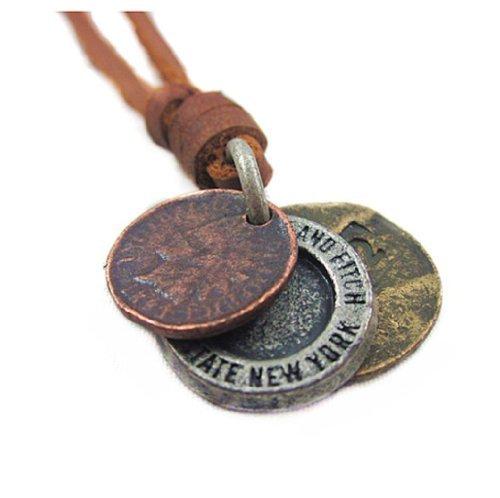 Jirong Brown echtes Leder und Alu-Anhänger Adiustable Herren Unisex FASHION Halskette Pl220