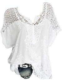 bc47b4d4880 Guesspower T-Shirt Femme Manche Courte Casual Eté Tops Col V Hauts Blouse  Chic Tee