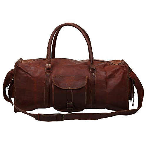 27,9 cm Zoll hoch x 61 cm Zoll lang (das Original Classic Collection Full Maserung echtes 100% Original Leder Rustikales Collection Duffel Bag, Turnbeutel, kurz Reisetasche) von indicraft INC (Cross Body Sattel)