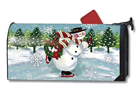 Misshow Snowy Skater Magnetic Mailbox Cover