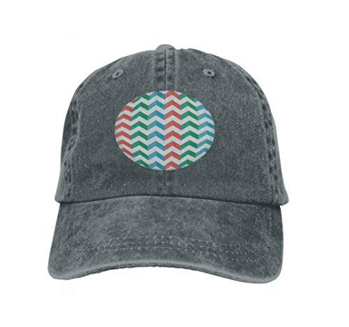 Xunulyn Vintage Cap Hat Adjustable Baseball Hat for Unisex Natural Zigzag Chevron multicoloCarbon Vertical Stripes Shadow Zigzag c Carbon -