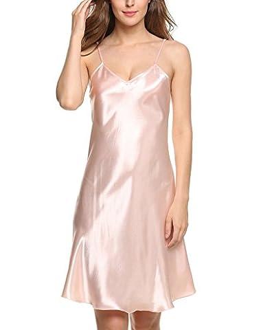 Surenow Chemise de Nuit Peignoir Nuisette Satin - rose clair