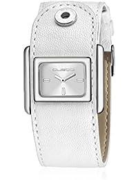 Custo CU041601 - Reloj con correa de piel para mujer, color blanco / gris