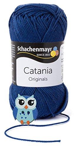 Schachenmayr/ HdK-Versand Catania Wolle 3x50 Gr., 100% Baumwolle + 1 Eulen Knopf (Farbreihe 100-199) (164 Jeans) (Baumwolle Jeans Ein Knopf)