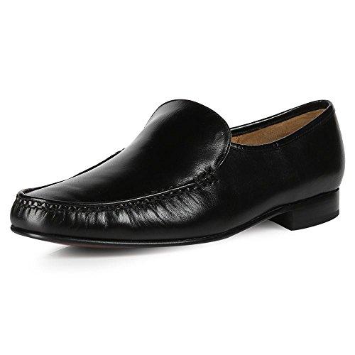 Barker Laurence Nero in Pelle Mocassino Slip On scarpe, nero (Black), 45