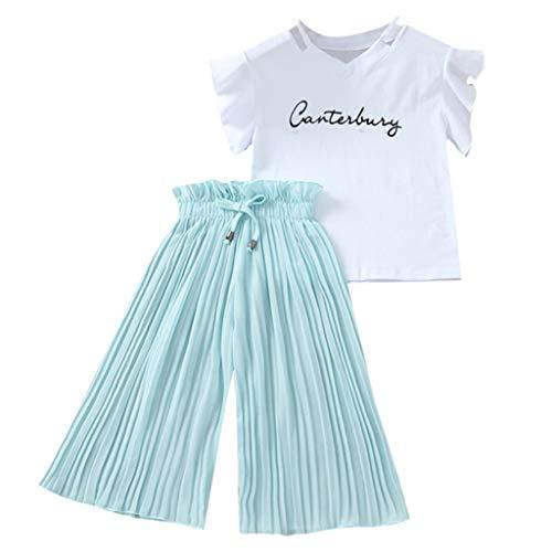 DIASTR Baby Mädchen Sommerkleidung Print Kleid Infant Outfit Prinzessin Kleid Kleinkind Swing Brief T Shirt Tops + Rüschen Lose Weites Bein Hose Outfits Kostüm (4-14 Jahr)