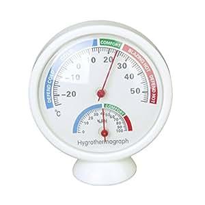 Thermo-hygromètre Thermomètre et Hygromètre en Forme de l'Horloge de Bureau