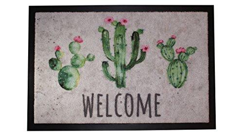 Carpido Lisa - Design Kaktus Türmatte, Kunstfaser, Mehrfarbig, 40 x 60 x 0,6 cm,