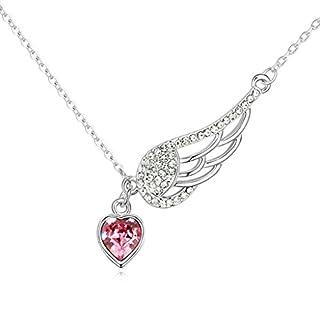 Daesar Schmuck Damenkette Vergoldet Herz Flügel Synthetische Kristall Halskette Zirkonia Halskette Anhänger