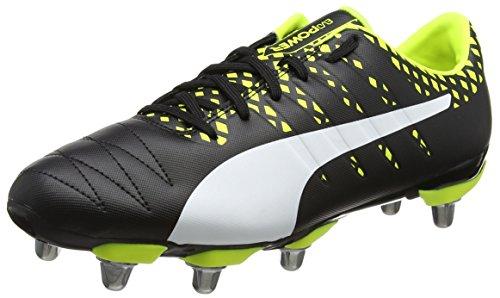 Puma Evopower Vigor Rugby H8, Botas Hombre, Negro (Black-White-Safety Yellow), 43 EU