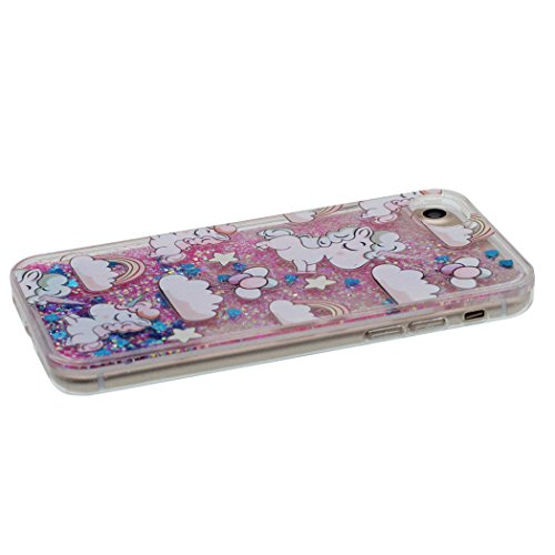 Custodia iPhone 8 Plus Acqua Glitter Sabbie Mobili, Cover Duro iPhone 8 Plus 5.5 Chiaro Trasparente Antiurto, Unicorns Cavallo Design Rosa
