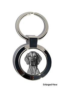 Braque hongrois lisse Manteau pour chien rond plaqué chrome porte-clés, cadeau